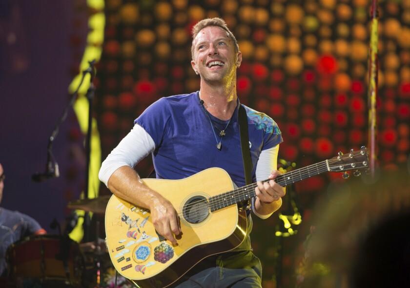 Chris Martin, de Coldplay, durante un concierto en el Metlife Stadium en East Rutherford