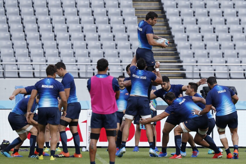 Argentina team train during their captain's run prior to the Rugby World Cup in Tokyo, Japan, Thursday, Sept. 19, 2019. (AP Photo/Eugene Hoshiko)