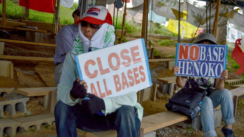 A protest against U.S. bases in Okinawa in front of Camp Schwab.