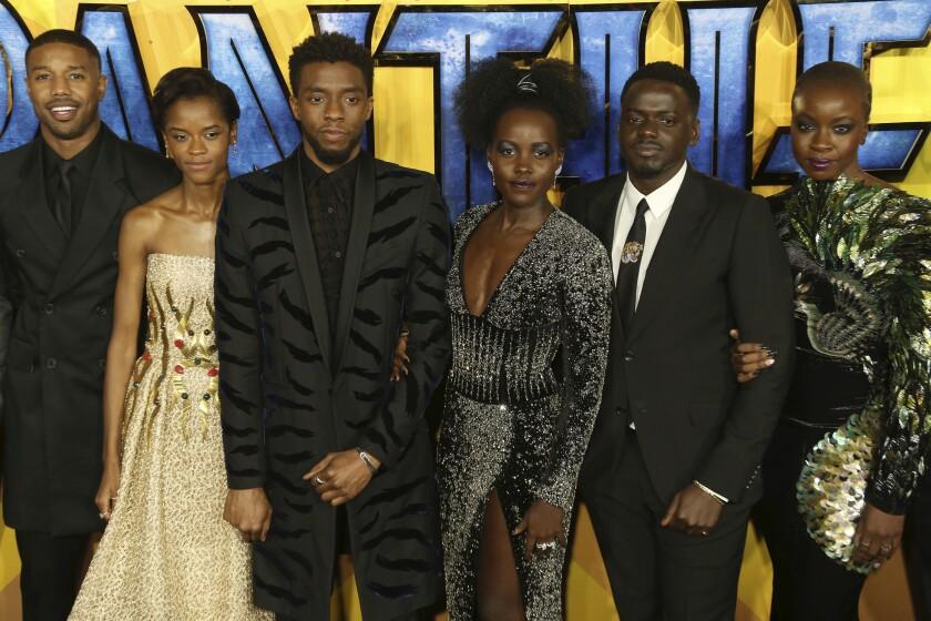 Actors Michael B. Jordan, Letitia Wright, Chadwick Boseman, Lupita Nyong'o, Daniel Kaluuya and Danai Gurira