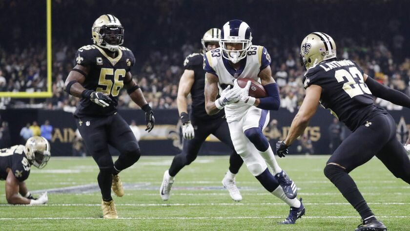 Josh Reynolds catches a pass during the second half of the NFL football NFC championship game agains
