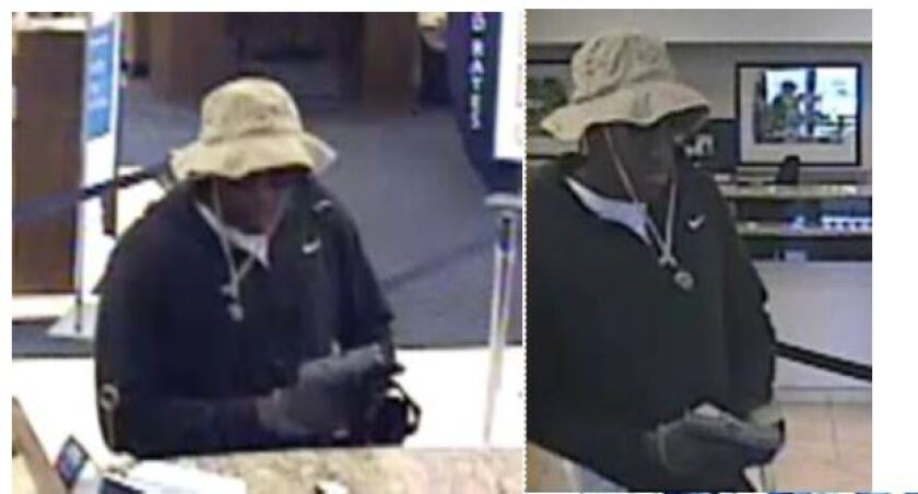 Images of an armed man who authorities said robbed a California Bank & Trust on June 28, 2019.