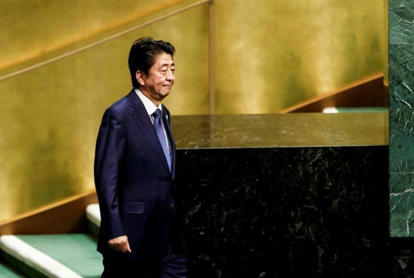 El primer ministro japonés, Shinzo Abe, interviene durante el Debate General de la Asamblea General de las Naciones Unidas (ONU) hoy, martes 25 de septiembre de 2018, en la sede del organismo, en Nueva York (Estados Unidos). EFE