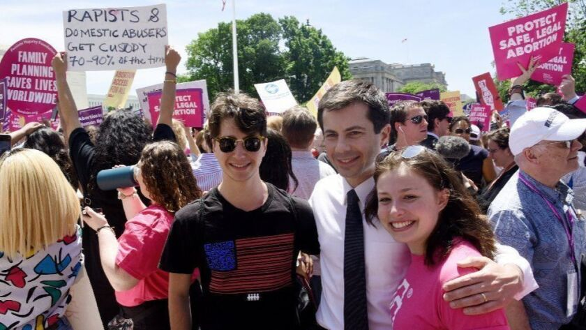 2020 Democratic presidential candidate Pete Buttigieg attends a rally at the Supreme Court protesting laws in Alabama and other states that restrict access to abortion on May 21 in Washington.