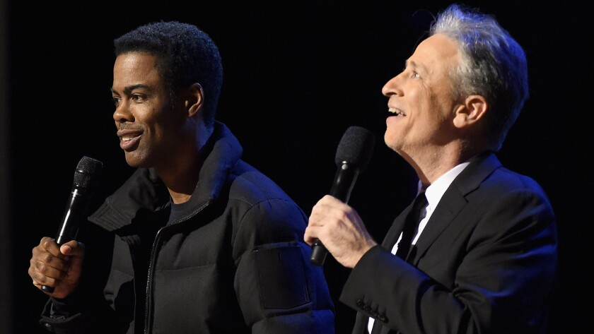 "Chris Rock, left, and Jon Stewart in Comedy Central's ""Night of Too Many Stars: America Comes Together for Autism Programs."""