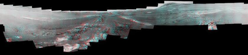 """Fotografía divulgada este martes por la Administración Nacional de la Aeronáutica y del Espacio (NASA) de una composición visual de 360 grados en 3D de una panorámica de la superficie de Marte compuesta por las últimas 354 fotografías obtenidas por el Opportunity, el robot espacial al que dio por """"muerto"""" en febrero tras quince años de misión. EFE/NASA/JPL-Caltech/Cornell/ASU/SOLO USO EDITORIAL/NO VENTAS"""