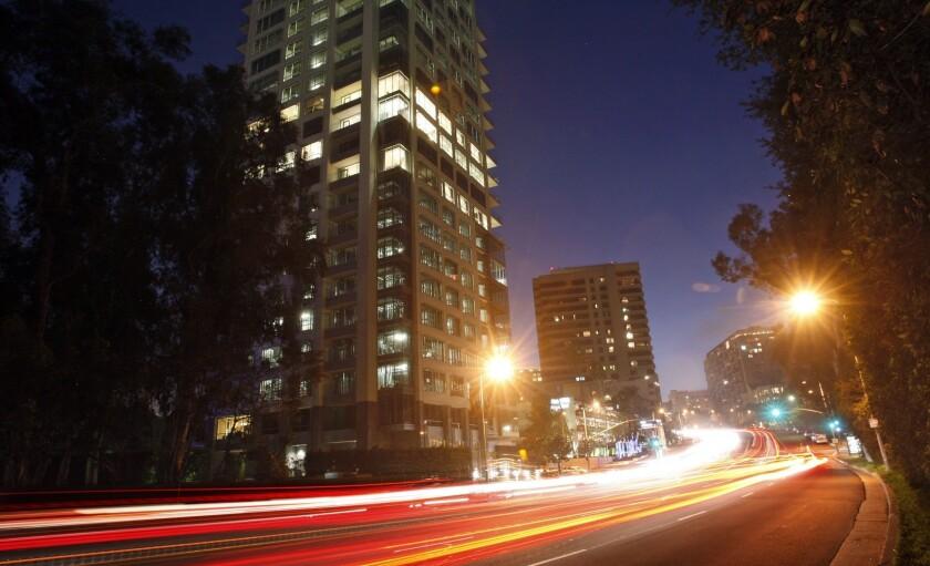 Wilshire Boulevard at night