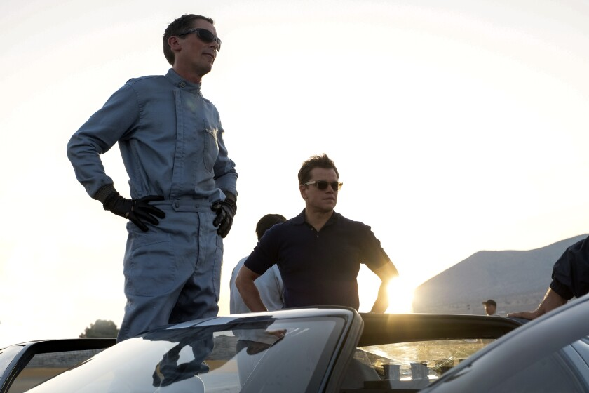 "Christian Bale and Matt Damon star in ""Ford v Ferrari."""