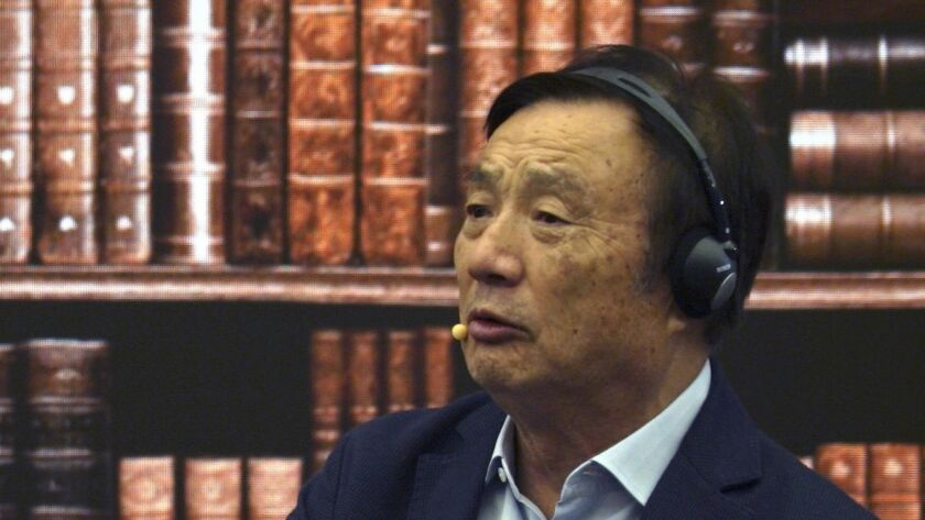 Huawei founder and Chief Executive Ren Zhengfei speaks at the company's headquarters in Shenzhen, China, on Monday.
