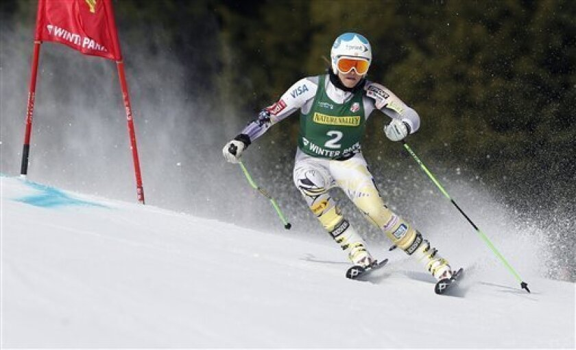 Julia Mancuso competes during the women's giant slalom skiing event at the U.S. Alpine Championships Saturday, March 31, 2012, in Winter Park, Colo. (AP Photo/Jim Urquhart)