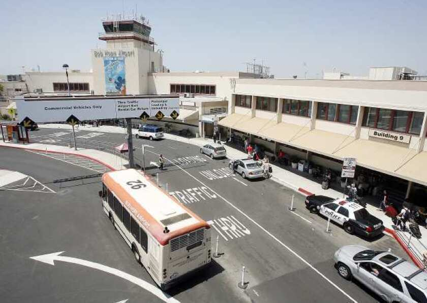 The entry circle at the Bob Hope Airport in Burbank on Monday, August 8, 2011. (Tim Berger/Staff Photographer)