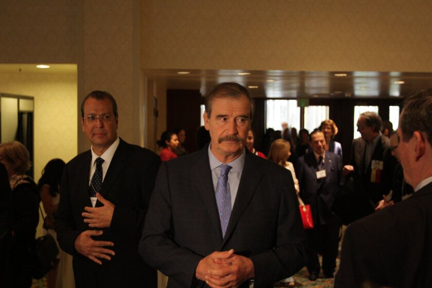 President Vicente Fox in downtown San Diego to address a gathering of U.S. and Latin American newspaper editors. / Photo by Omar Martinez -- Frontera