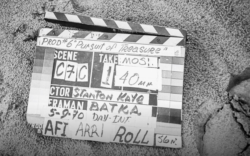 """Film slate from Stanton Kaye's AFI thesis production, """"In Pursuit of Treasure"""" (1970)."""