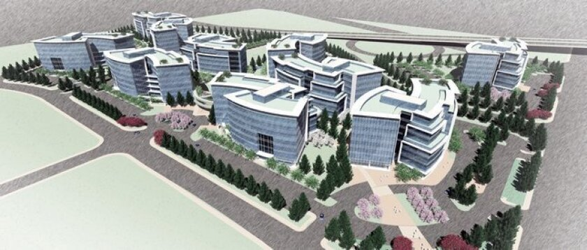 Rendering of a new 10-building complex approved for San Jose that could hold 10,000 employees.