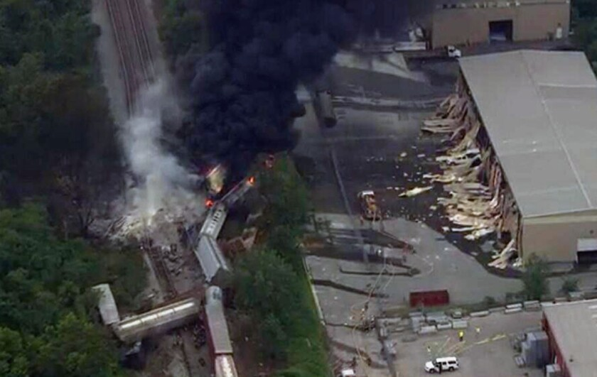 This image shows a train derailment outside Baltimore on Tuesday.