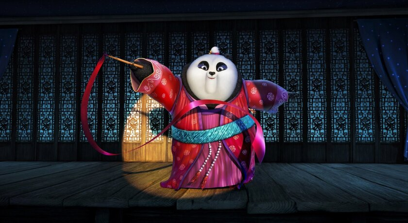 """This image released by DreamWorks Animation shows character Mei Mei, voiced by Kate Hudson performing a ribbon dance in a scene from the animated film, """"Kung Fu Panda 3."""" The film releases in U.S. theaters on Jan. 29, 2016. (DreamWorks Animation via AP)"""