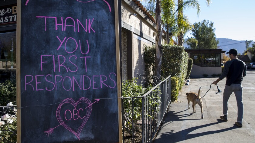 OJAI, CA - DECEMBER 27: A sign thanking first responders is seen outside of Ojai Brewing Company in
