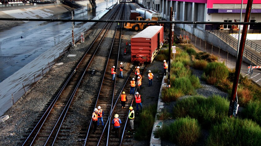 A Union Pacific freight train derailment near Union Station in the early hours of morning on November 9, 2009 in Los Angeles.