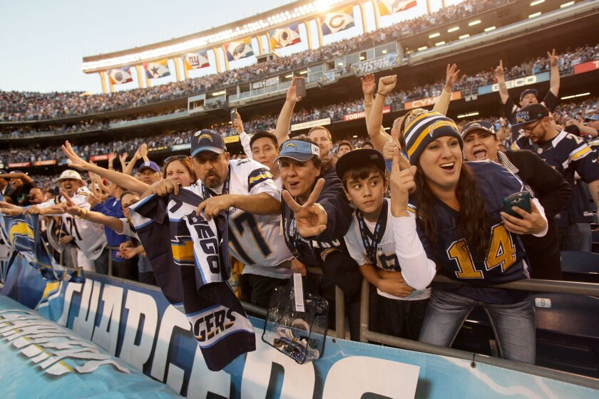 San Diego Chargers vs. Kansas City Chiefs at Qualcomm Stadium.  Charger fans go wild.