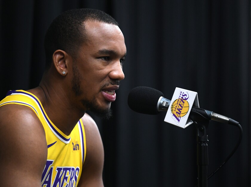 Lakers guard Avery Bradley addresses reporters during media day on Sept. 27, 2019.