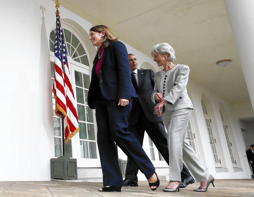 Barack Obama, Kathleen Sebelius, Sylvia Mathews Burwell