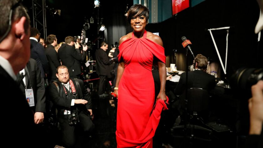 Viola Davis backstage after winning the Oscar for supporting actress for 'Fences' at the 89th Academy Awards.