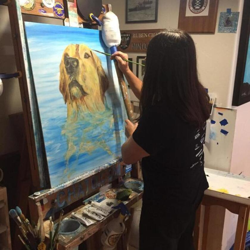 Chato, a member of the Lipan Apache Tribe of Texas and an honored military veteran, paints in his studio in Point Loma