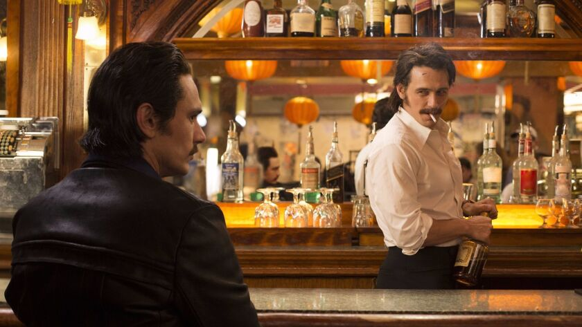 """This image released by HBO shows James Franco portraying twins Vincent and Frankie Martino in, """"The"""