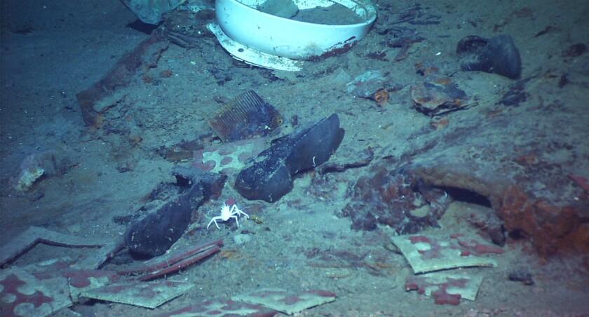 A pair of black shoes is among detritus on the ocean floor.
