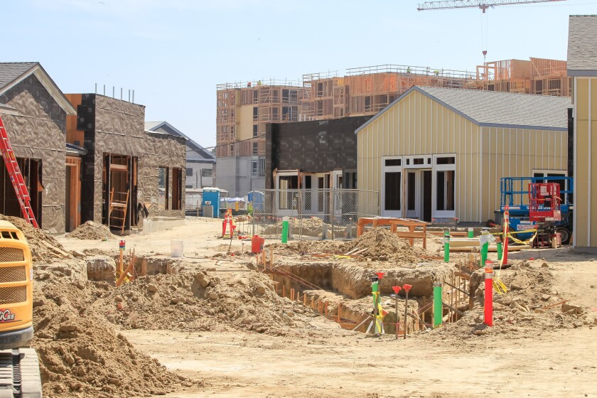 Construction of a mixed-use development in Carmel Valley known as One Paseo.