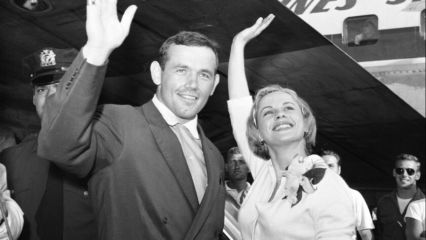 FILE - In this July 3, 1959 file photo, Swedish actress Bibi Andersson, right, and Sweden's Ingemar