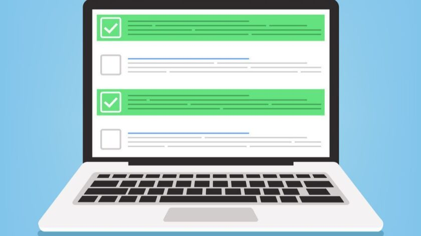 Laptop and checkboxes with check mark. Checklist concept