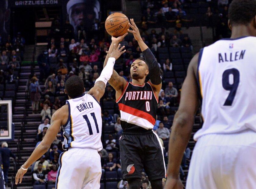 Portland Trail Blazers guard Damian Lillard (0) shoots against Memphis Grizzlies guard Mike Conley (11) in the first half of an NBA basketball game Monday, Feb. 8, 2016, in Memphis, Tenn. (AP Photo/Brandon Dill)