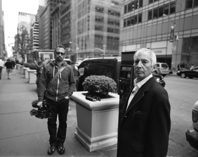 """Filmmaker Andrew Jarecki, left, appears with murder suspect Robert Durst, the subject of Jarecki's """"The Jinx: The Life and Deaths of Robert Durst."""""""