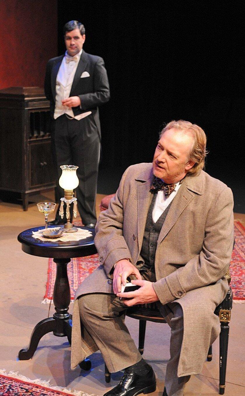 """Jon Lorenz (left) as Eric Birling and Robert Smyth as Inspector Goole in """"An Inspector Calls."""""""