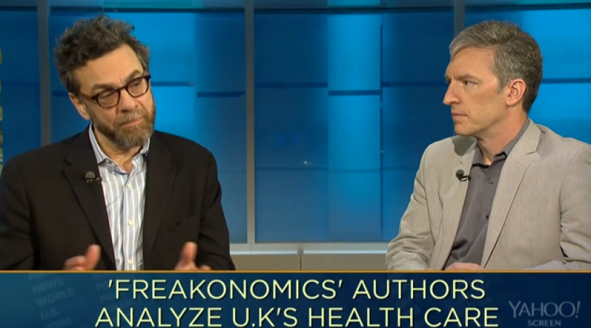 """Stephen Dubner, left, and Steven Levitt of the """"Freakonomics"""" team talk to Yahoo Finance: But do they know anything about health insurance?"""