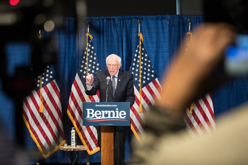 Bernie Sanders delivers a campaign update on March 11 after a string of primary losses.