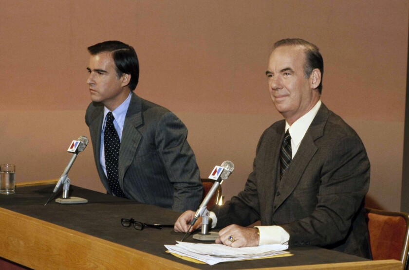 """First-term Gov. Jerry Brown, left, appears with California Atty. Gen. Evelle Younger on NBC's """"Meet The Press"""" in 1978. Younger was the principal backer of the police confidentiality bill that Brown signed into law the same year."""