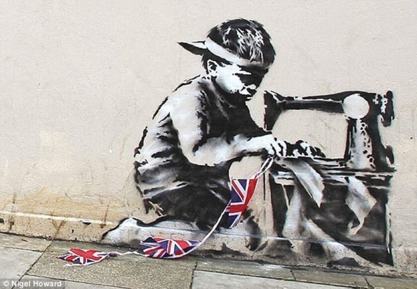 """""""Banksy Slave Labor (Bunting Boy). London 2012"""" is listed for for $500,000 to $700,000 at the Fine Art Auctions Miami website."""