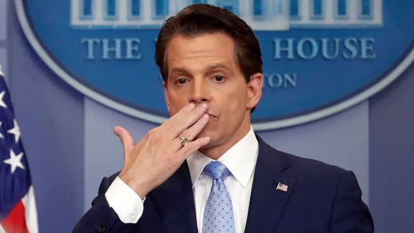 Now-deposed White House communications director Anthony Scaramucci blows a kiss after answering questions during the press briefing in Washington on July 21.