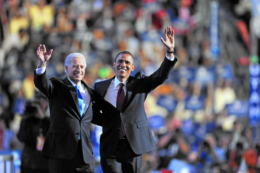 In 2008, Barack Obama and Joe Biden claim the Democratic nomination at the national convention in Denver. The West rallied behind Obama then, but times have changed.