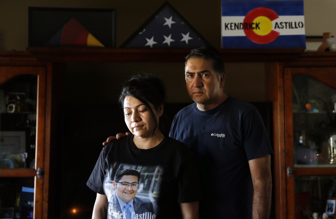 Kendrick Castillo's parents, Maria and John Castillo, at their home in Denver. Their son was killed in May after charging a gunman at school.