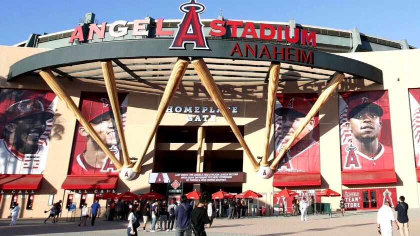 File photo taken in September 2018 shows Angel Stadium, the home of the Los Angeles Angels, in Anahe