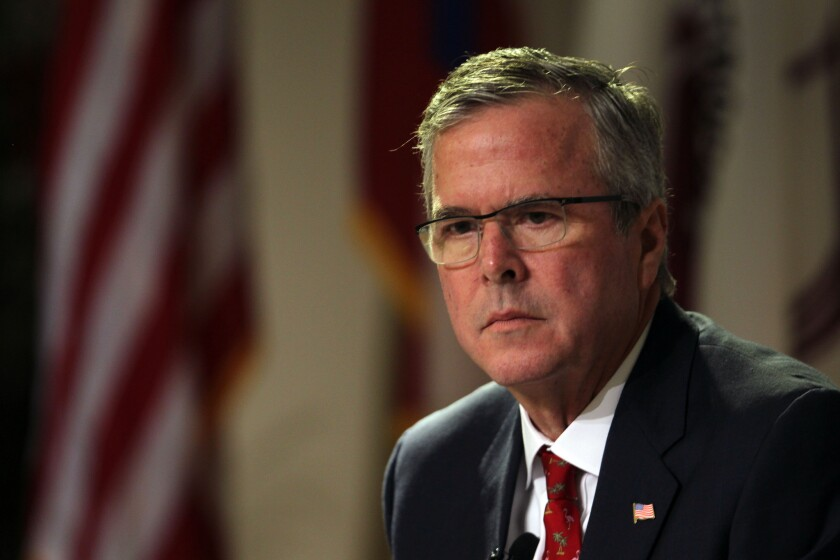 Former Florida Gov. Jeb Bush attends an event at the Metropolitan University in San Juan, Puerto Rico, on April 28.