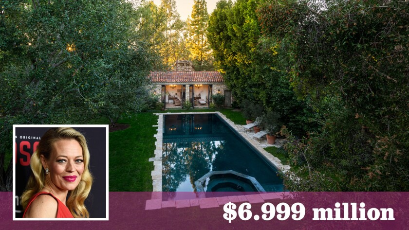 """Jeri Ryan of """"Star Trek: Voyager"""" and """"Bosch"""" fame has put her French-country-inspired estate in Encino on the market for $6.999 million."""