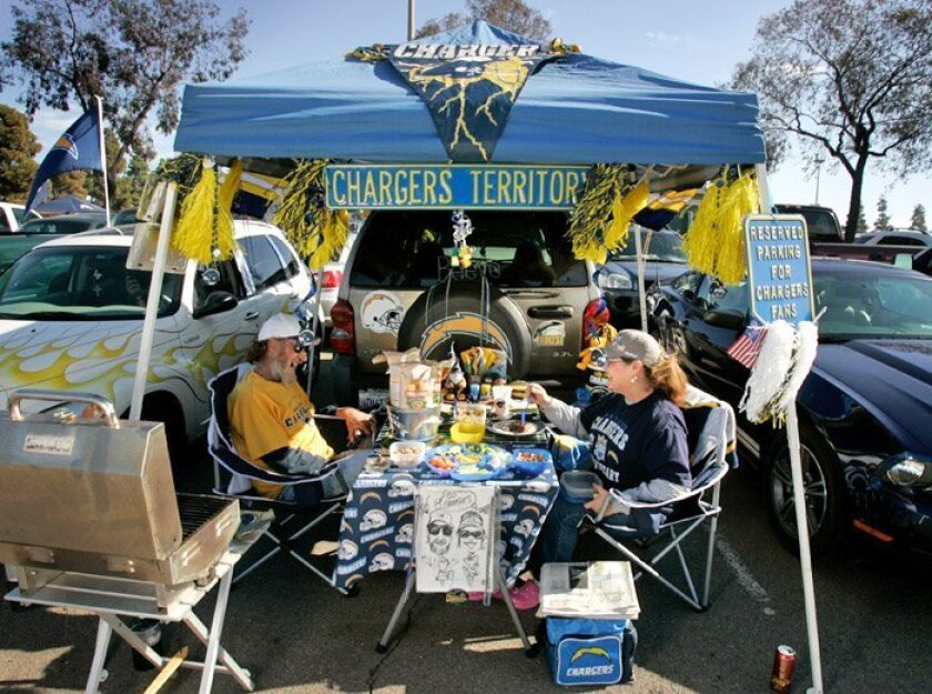 John and Debbie Kistler of Lemon Grove tailgated before the Chargers faced off against the New York Jets in the AFC divisional playoff game Jan. 17.