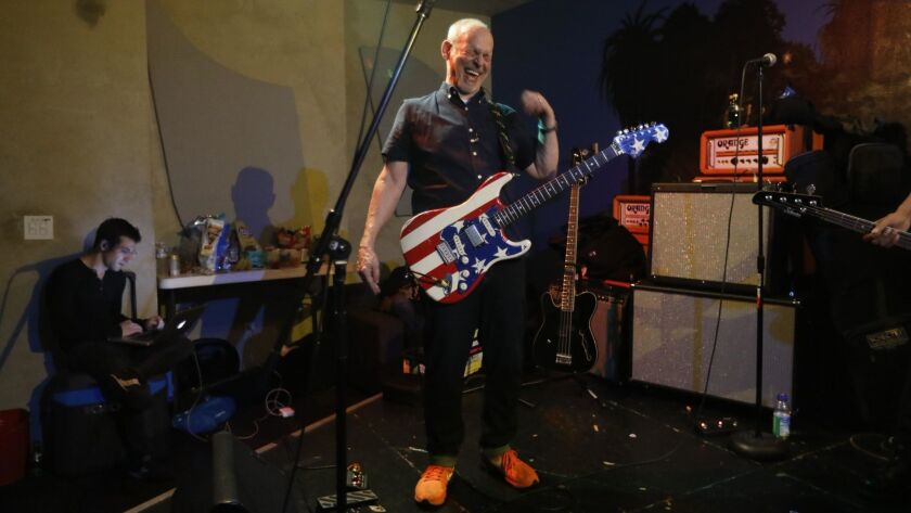 LOS ANGELES, CA - JUNE 18, 2018 - Guitarist Wayne Kramer, of MC5, enjoys a light moment while rehear