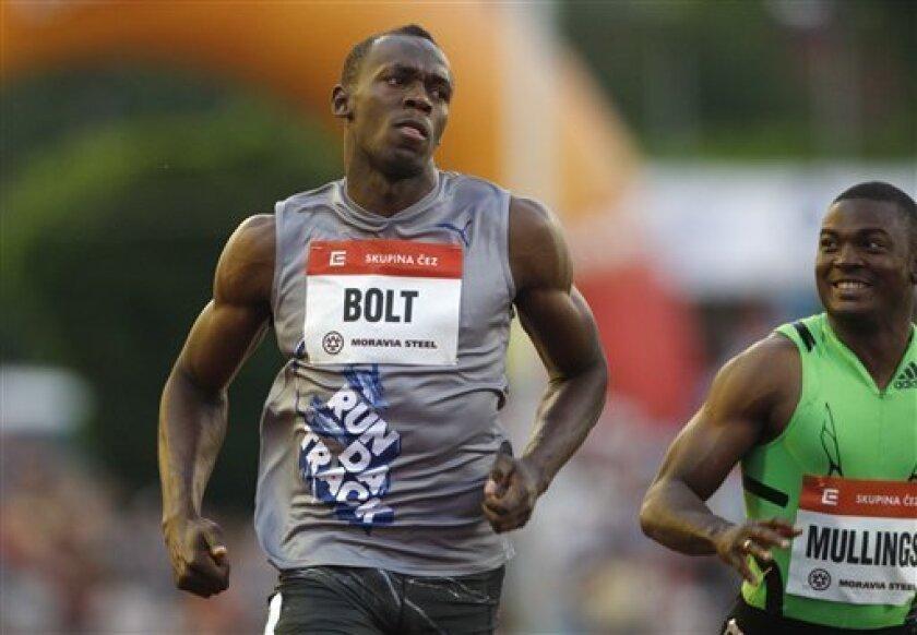 Jamaica's Usain Bolt reacts after winning the Men's 100m final at the Golden Spike Athletic meeting in Ostrava, Czech Republic, Tuesday, May 31, 2011. (AP Photo/Petr David Josek)