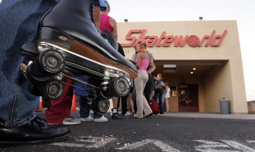 Skaters line up recently to get into Skateworld Roller Rink in Linda Vista, the last roller rink in San Diego.