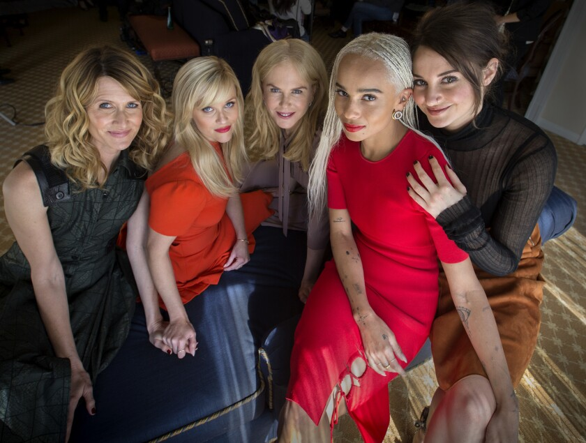 """The women of HBO's """"Big Little Lies,"""" seen in 2017: from left, Laura Dern, Reese Witherspoon, Nicole Kidman, Zoe Kravitz and Shailene Woodley."""